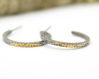 Gold and Silver Textured Hoops Keum Boo 24 karat Sterling Silver Post Earrings
