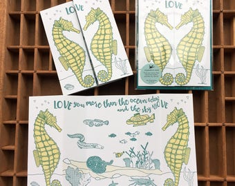 letterpress seahorses love card