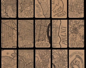 Cities O-Y city map letterpress notepad