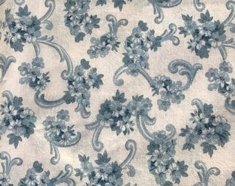 1 1/4 Yards of Wedgewood Blue and Off White Floral and Scroll Print Cotton Fabric