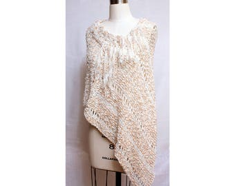 Poncho with Fringe in Cotton Blend Boho Spring Summer