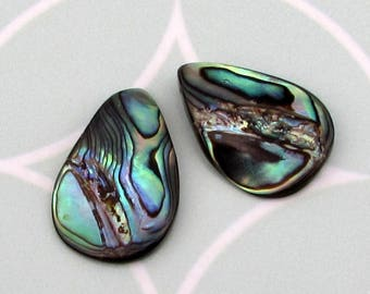 Genuine Abalone Shell Teardrop Pendant, 28 mm, 1 Pair, A18