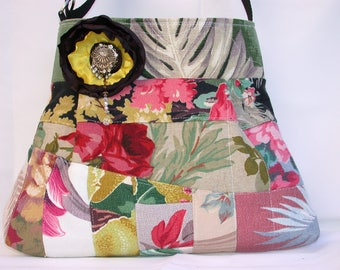 Vintage Barkcloth Patchwork-Yellow-pink roses -Handbag -adjustable-Messenger -Shoulder Bag- BagZGirl