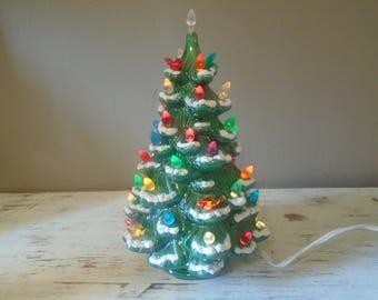 small green ceramic christmas tree with flocked tips vintage ceramic christmas tree ceramic tree - Retro Christmas Tree