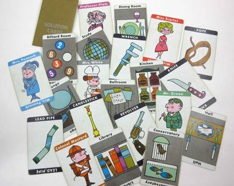 Vintage 1960s Clue Game Pieces Cards and Weapons Set of 21