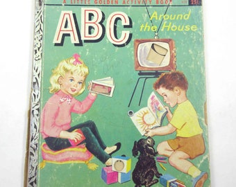 ABC Around the House Vintage 1950s Children's Little Golden Book by Kathleen N. Daly Illustrated by Violet LaMont Includes Jack O Lantern