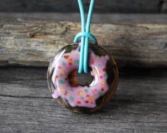 Donut lover - donut art glass pendant- unique glasss gift