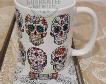 Day of the dead dia de los muertos  coffee mug cup with coaster