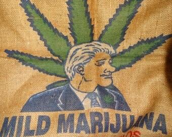 "Vintage Anti Bill Clinton Burlap Bag,  ""Slick Willie"" brand mild marijuana, No need to inhale!, Man Cave Wall Art, Weed, Reefer, Marijuana"