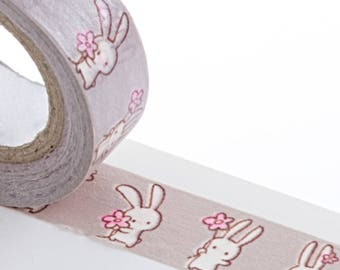 Cutest Kawaii Bunny with Flower Washi Tape