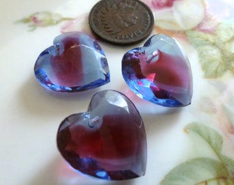 3 Vintage Sapphire/Rose Givre, Two Tone, 2 Color Glass Heart Pendants, Heart Drop, Top Drilled, Flat Surface, 18x17mm, 3 pieces