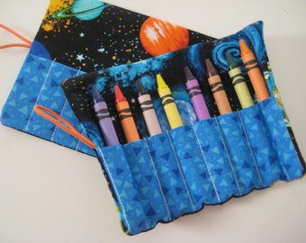 Crayon Holder- Solar Eclipse- Outer Space- Planets-Birthday Party Favor-Stocking Stuffer-Travel Gift-Organizer-Boutique Gift- 8 Crayons