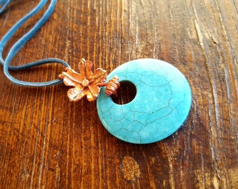 Copper Flower Necklace - Adjustable -Turquoise Magnesite - Leather- Cowgirl Jewelry - Boho Necklace - Rustic Jewelry by Heart of a Cowgirl