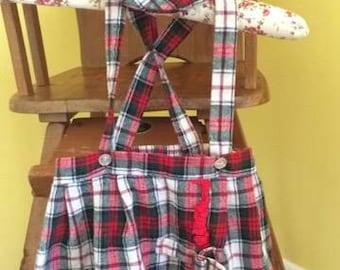 Vintage Toddler Girl Suspender Skirt and Beret  Design by GoodLad- Tartan Plaid (4T)
