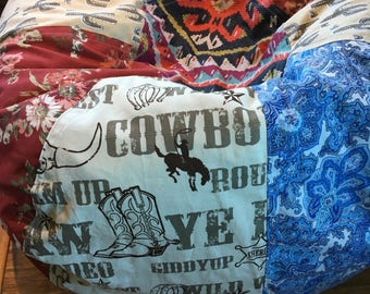 NEW Southwest  Cactus Cowboy vintage roses fun styled bean bag chair UNFILLED with liner