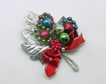 Vintage Christmas Corsage Glass Beads