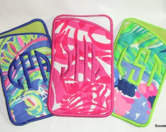 Handcrafted Custom Monogramed Lilly Pulitzer Fabric Phone Sleeve/ Eyeglass case - New