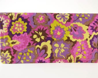 Fabric Checkbook Cover, Receipt or Cash Wallet, Checkbook Holder, Women's Wallet, Purple and Green floral
