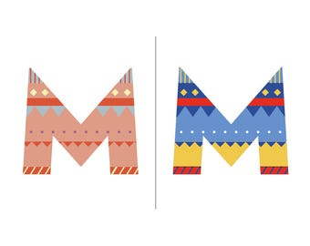 Sweater Letter 'M' Embroidery pattern - 2 colour ways - digital download contemporary needlework