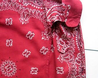 Vintage Ultra Pink Red Bandana Wrap Skirt - 1980's, Short skirt, Sarong, Bandana, Summer skirt, Red, 100% Cotton, Made in India, Size medium