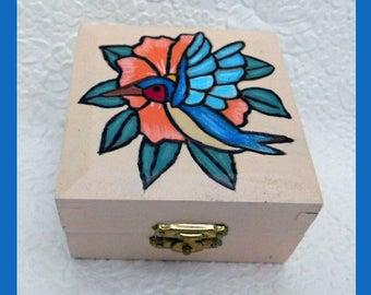 Hummingbird Trinket Box, Jewelry box, Unique Gift, Handmade, Jewelry Holder, Jewelry Organizer, Wood Trinket Box, Hand Painted