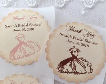 Bridal Shower Stickers, Bridal Shower Labels, Bridal Stickers, Wedding Dress Stickers, Set of 10