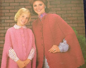 Leisure Arts Mother Daughter Capes Knit Crochet Pattern Leaflet
