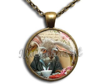 25% OFF - Alice In Wonderland Rabbit Glass Dome Pendant or with Chain Link Necklace AW114