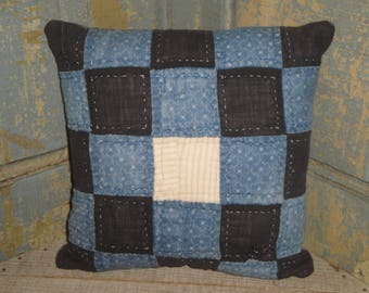 Old Blue Calico Quilt Pillow | Vintage Quilt Pillow | Antique Quilt Pillow | Small Primitive Pillow | Repurposed Old Quilt Pillow
