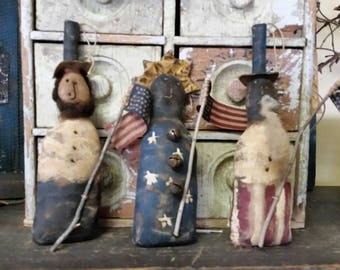 Primitive Americana Ornaments.   Liberty,  Uncle Sam and  Abe Lincoln