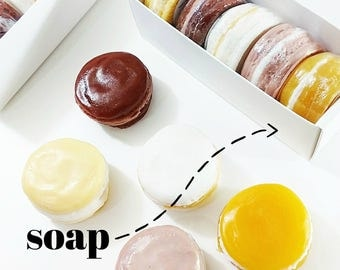 Foodie Gift. Coworker Gift. COZY Macaron Soap Gift Set. Stocking Stuffer. Christmas Gift. Hostess Gift. Gift for Cooks. Gift for Bakers soap