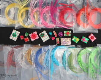 Vintage Self Sticking Ribbons in 19 colour choices to make bows for Dollhouse Miniatures 1:12, quarterscale, VT039