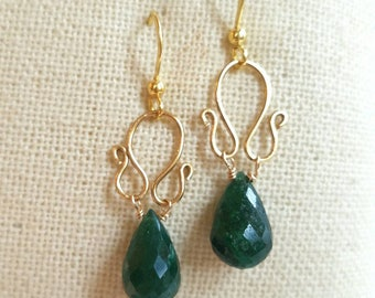 Genuine Emerald Drop Earrings Gold Swirl Hamdmade Earring Finding