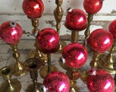 Vintage Shiny Brite Ornaments  Made in USA- Raspberry Red Silver