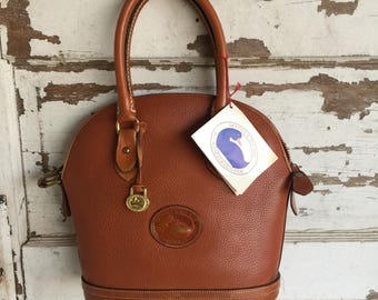 Vintage Dooney and Bourke British Tan Dome Satchel Crossbody Purse - AWL Authentic with Original Tag - Made in USA