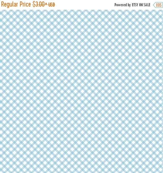 """ON SALE Penny Rose Fabrics """"Bunnies and Cream"""" Blue Gingham"""