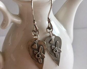 Heart Earrings-Sterling Silver Heart Earrings
