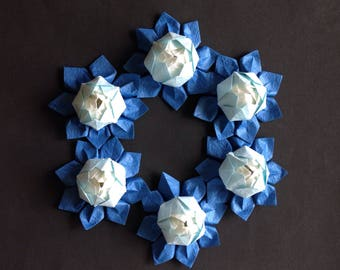Mini Origami Lotus Flower - Blue Shades, Set of 6, Japanese Special Momigami, Anniversary, Birthday Gift, Table Decor, Get Well, Handmade