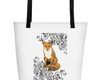 Fox & Scroll Design Beach Gym Market Bag Tote Foxes Woodland Creature