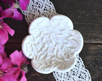 Tiny Ring Dish - Flower Shaped -  Leaf Embossed - Earring Dish - Ring Holder - Earring Holder - Tiny Trinket Dish - Ready to Ship