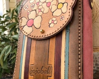 Small Cross Body Leather Bag - Blackberry Blossom Spring 2018 Collection - made to order