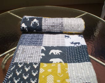 Handmade Baby quilt, baby girl quilt, baby boy bedding,deer crib bedding, woodland, grey navy mustard nursery,bear, moose,deer, Woodsy Spice