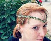 ON SALE Emerald Celtic Irish Wedding Circlet Tiara the Galadriel