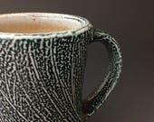 Coffee Mug - Cobalt with Sweep Pattern - Soda Glazed Stoneware Pottery (#3)