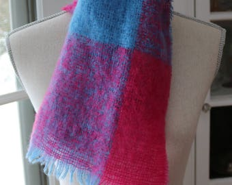 Pink Blue Mohair Scarf - Royal Scot Mohair Scarf - Blue Plaid Scarf - Women's Scarf - Pink Tartan Scarf - Woven Scarf- Made in Great Britain