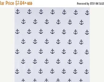 ON SALE Anchor Napkins Set- Navy Blue Anchors,  on White cotton, Napkins - Nautical, Beach Decor Cotton