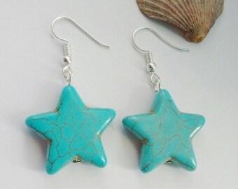 Turquoise Star Earrings, Star Earrings, Boho Earrings, Christmas Gift, Gift For Her, Star Jewellery, Gift For Teen, Inspiration Earrings,