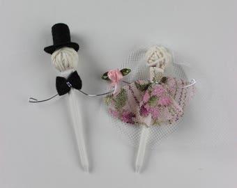 Rustic Bride & Groom Golf Tee Wedding Cake Topper