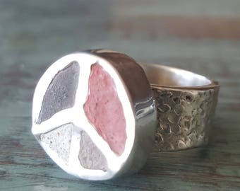 Peace Sign Ring Concrete Round Sterling Silver Peace Boho Hippie Chic One Of A Kind