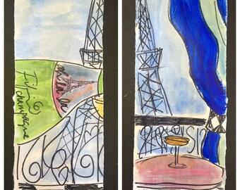 Bleu Striped Ooh La La Champagne Drapery